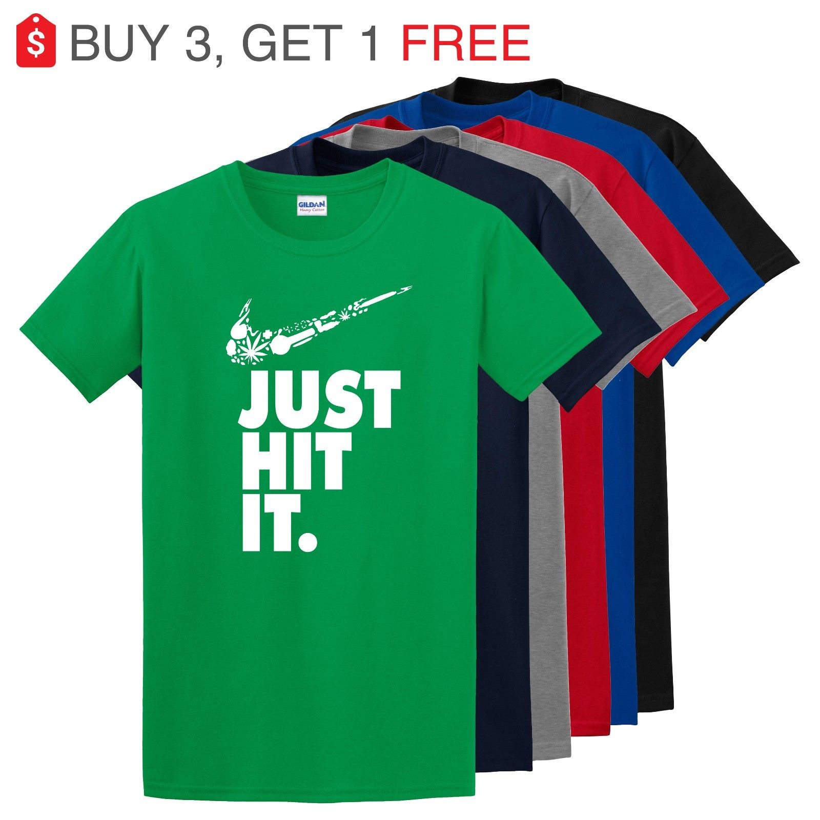 Nike Just Hit Funny Marijuana Weed Pot 420 Black T Shirt Just do it Festival Tee 2