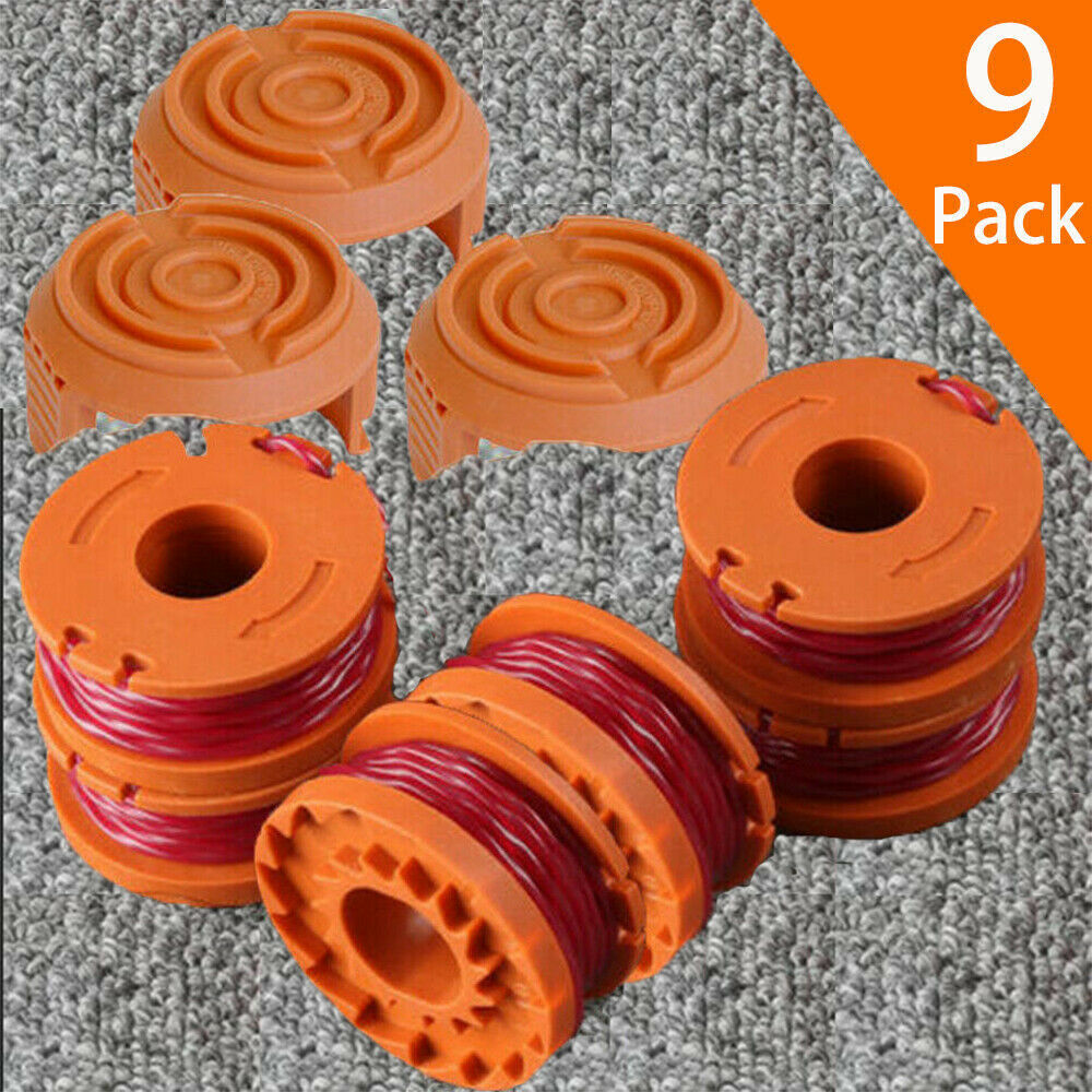 9 Pack GT Grass Trimmer Spool Line Weed WA0010 W/ Spool Cap Cover WA6531 WORX 1