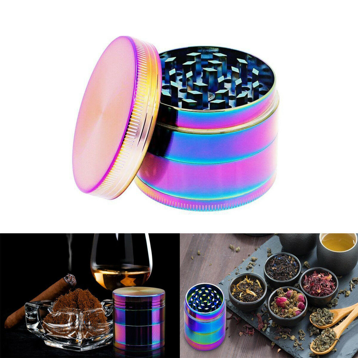 "Large Spice Tobacco Herb Weed Grinder-4 Pcs with Pollen Catcher-50MM"" Rainbow US 1"