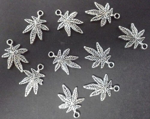 NEW STYLE Marijuana Leaf Charms Pot Cannabis Weed Silver  FREE SHIP US Seller 1