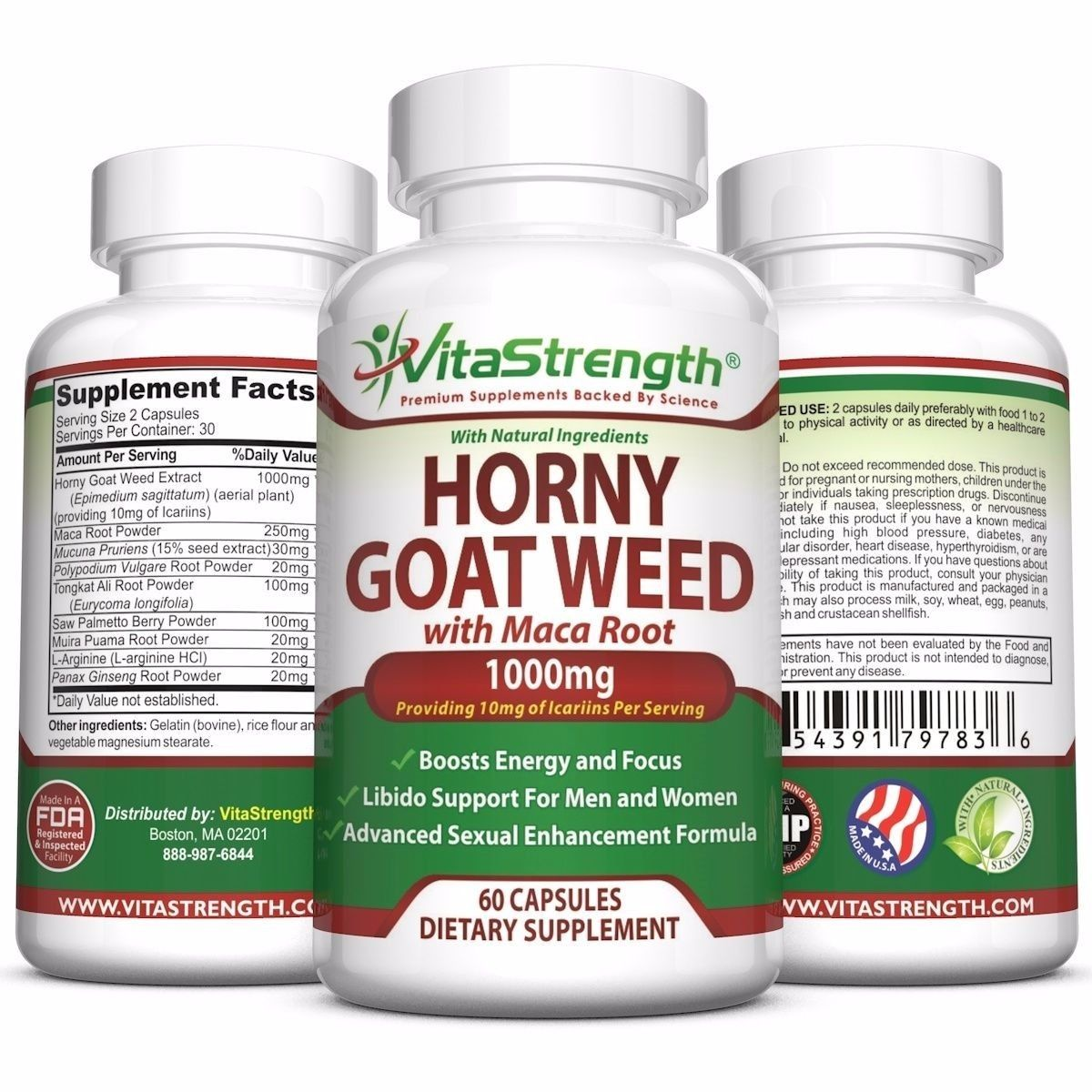 Premium Horny Goat Weed With Maca Root - Female and Male Enhancement Herbs 1