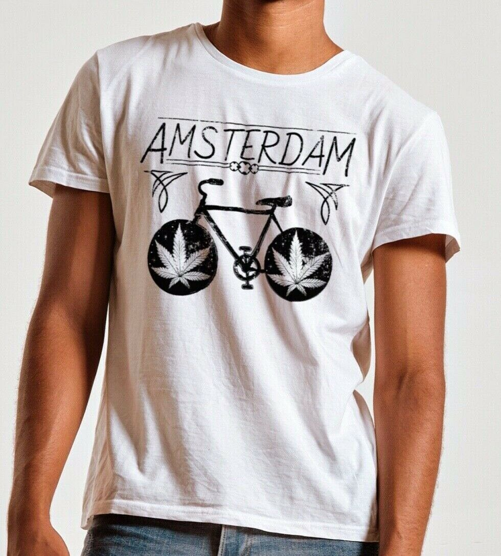 Amsterdam T-shirt, Bicycle, Funny T-shirt, Weed T-shirt, Graphic Tee, Marijuana 1