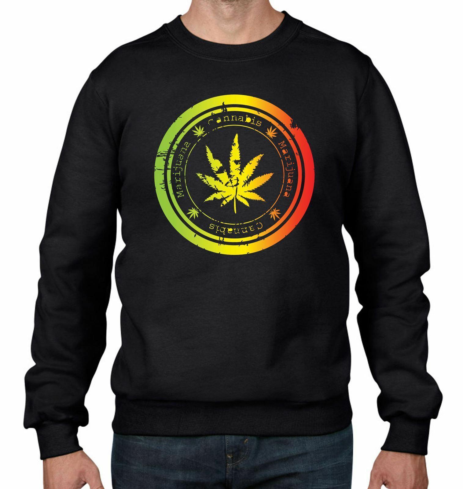 Cannabis Leaf Men's Sweatshirt Jumper - Weed Skunk Marijuana 1