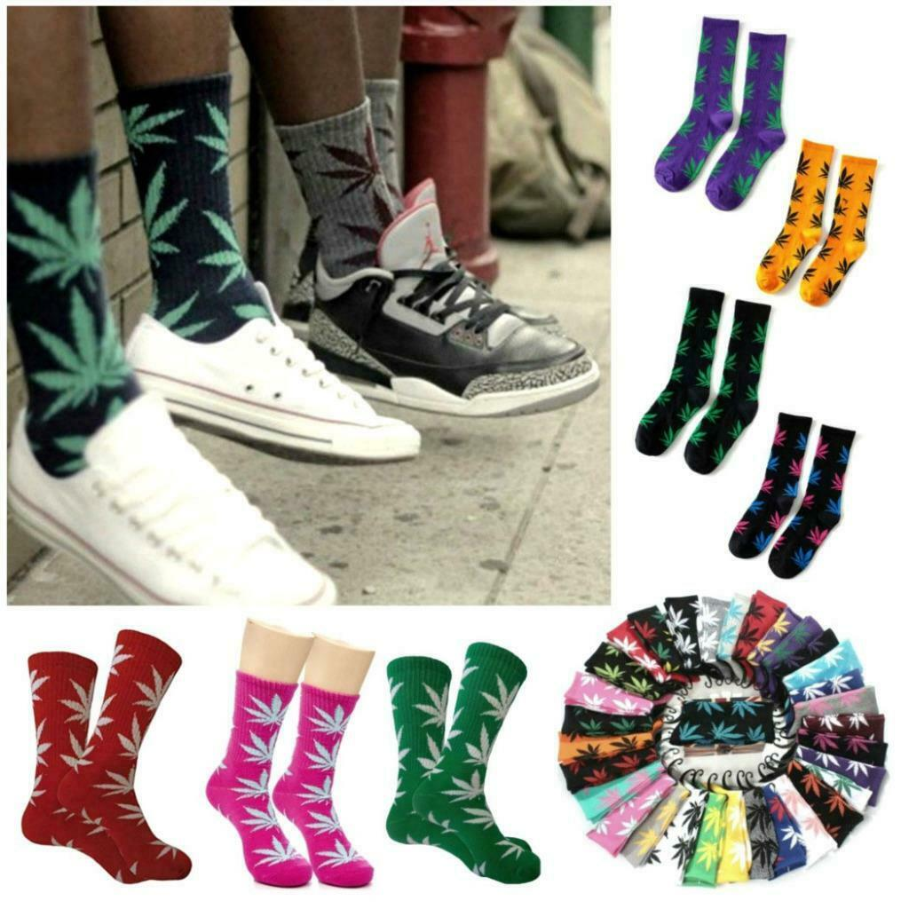 MARIJUANA LEAF SOCKS 44 Colors Medium Size Crew 420 Pot Weed Cotton Stretch NEW 1