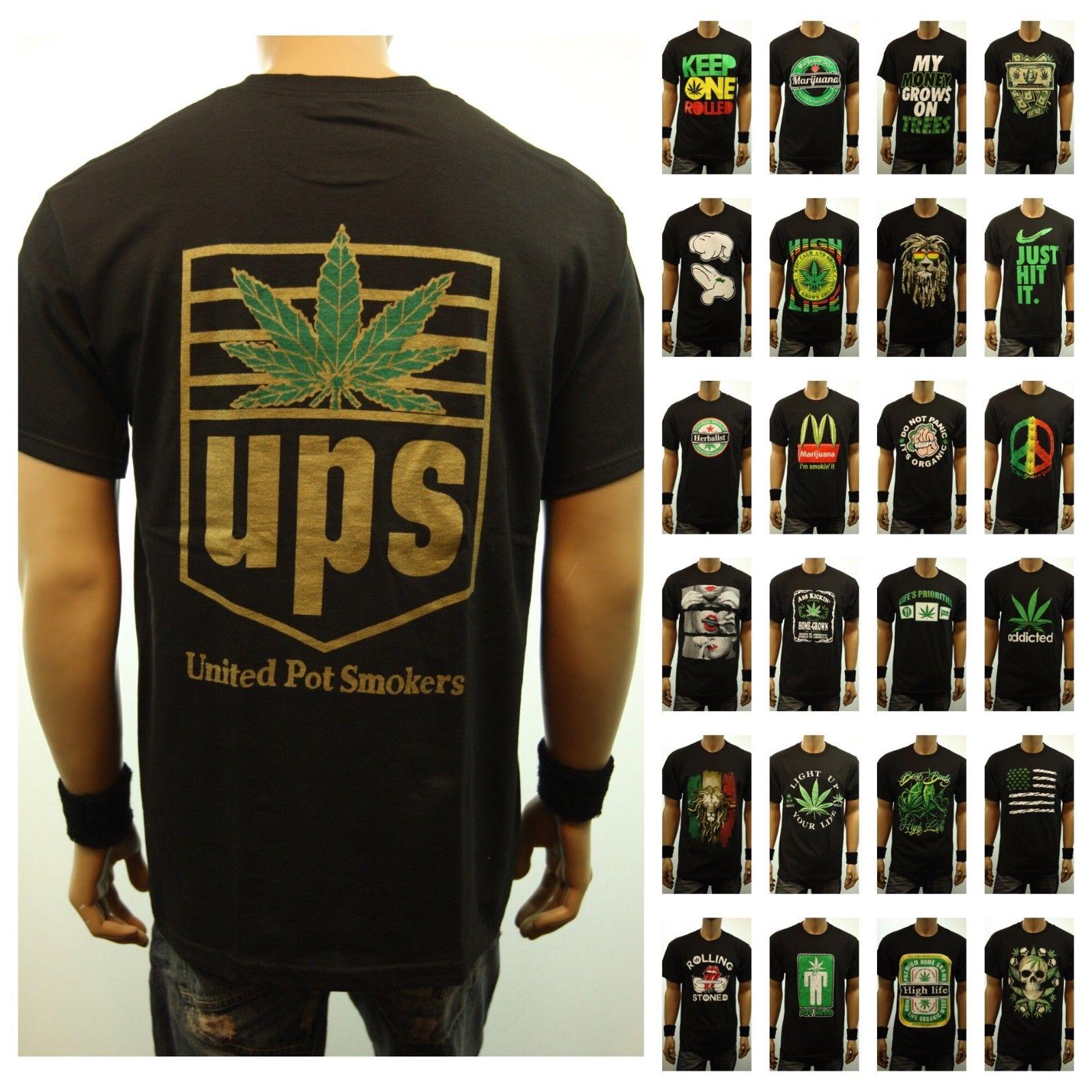 Men Funny Graphic T-Shirt Weed Marijuana Cannabis Pot Fashion Casual Hipster Tee 1