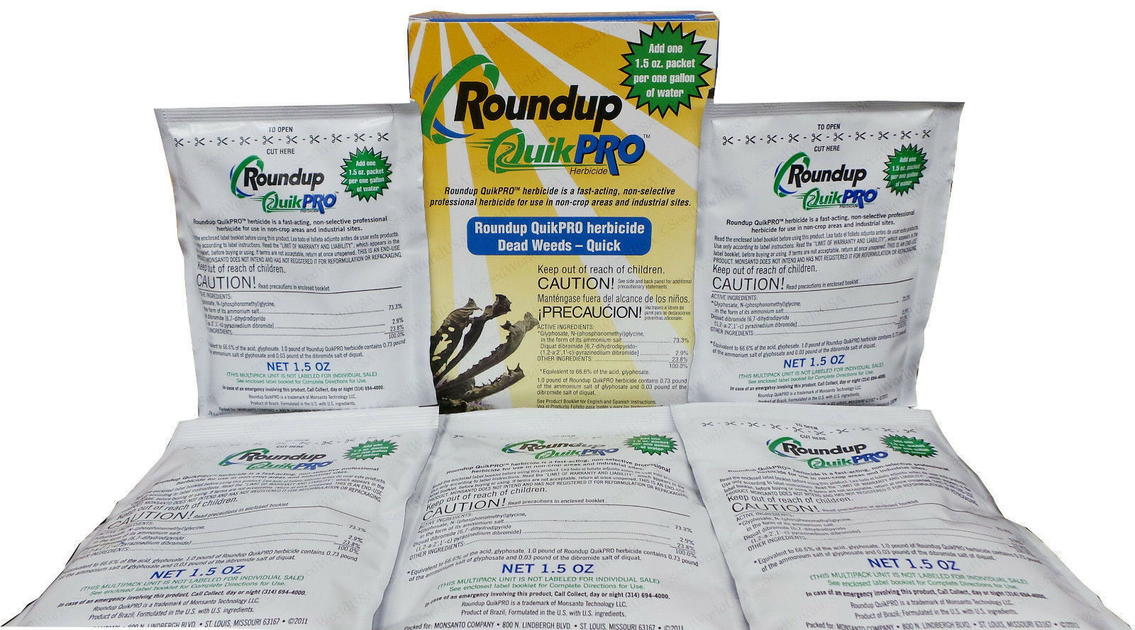 Roundup QuickPro Weed Killer HERBICIDE 73.3% 5 Gallons (1 Per Pack) , 5 Packets 1