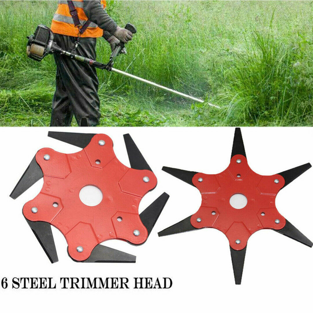 6 Steel Outdoor Trimmer Head Blades Razors Lawn Mower Grass Weed Cutter Kit  US 1