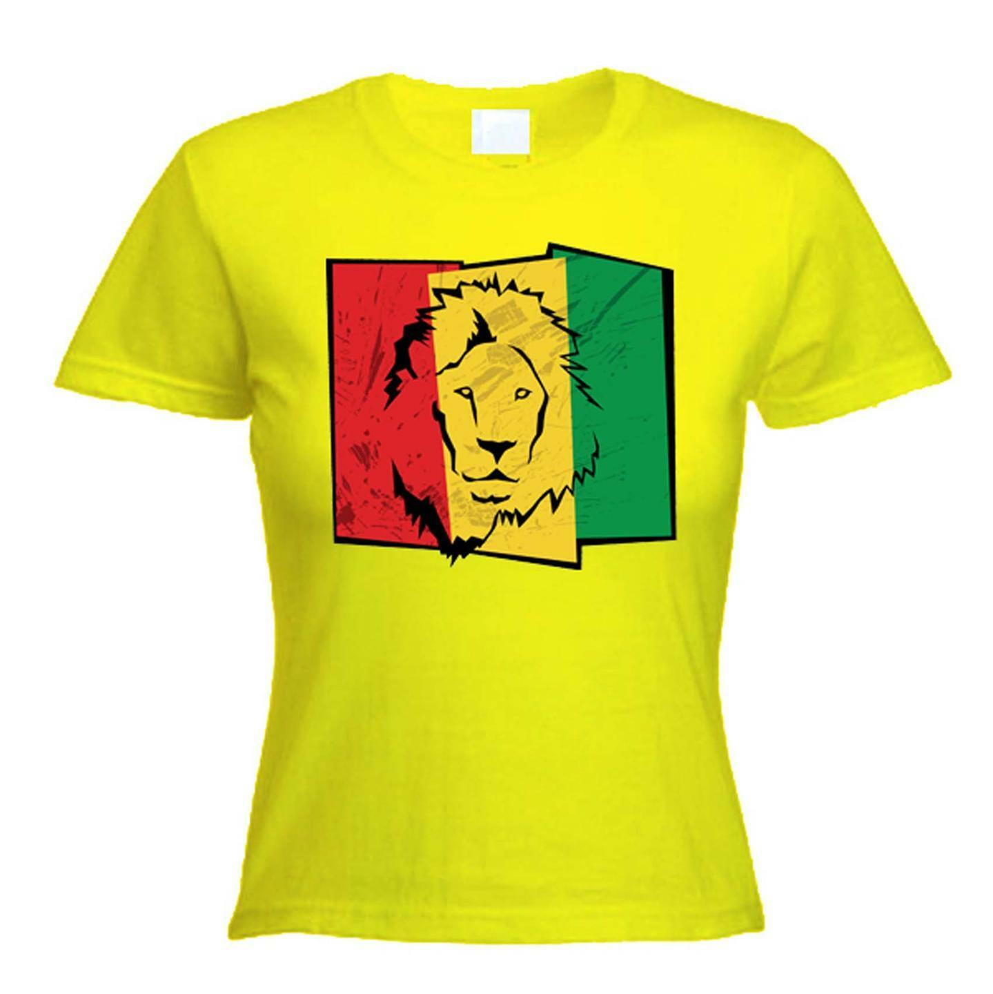 LION OF JUDAH FLAG WOMENS T-SHIRT - rasta reggae bob marley, cannabis, marijuana 1