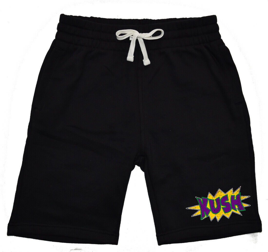 Mens Comic Kush KT T27 Fleece shorts sweatpants Jogger Weed high Blunt Marijuana 1