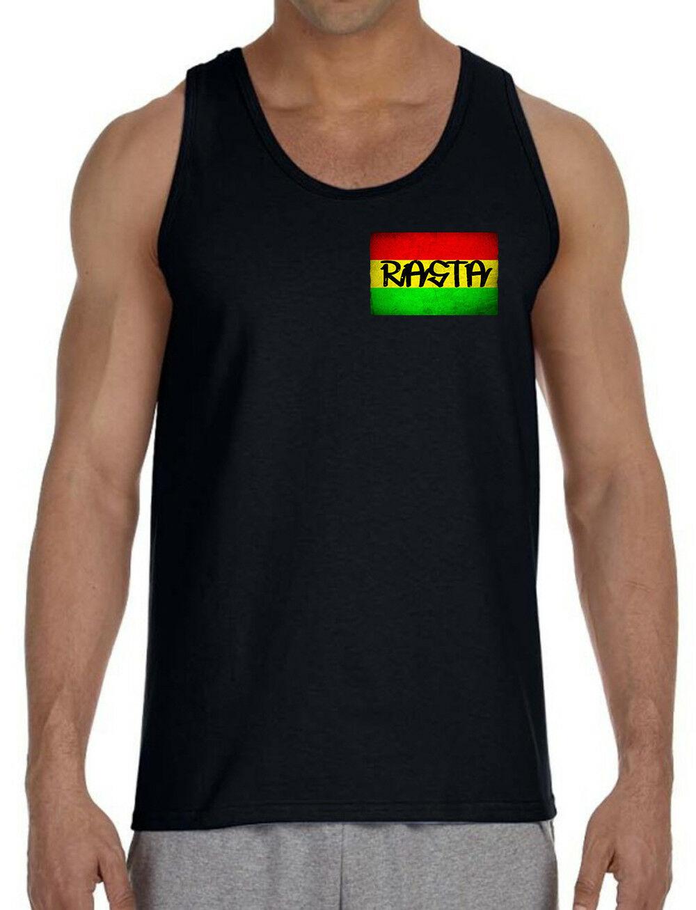 Men's Rasta Flag Chest Black Tank Top T-Shirt Jamaican Weed Blunt High Marijuana 1