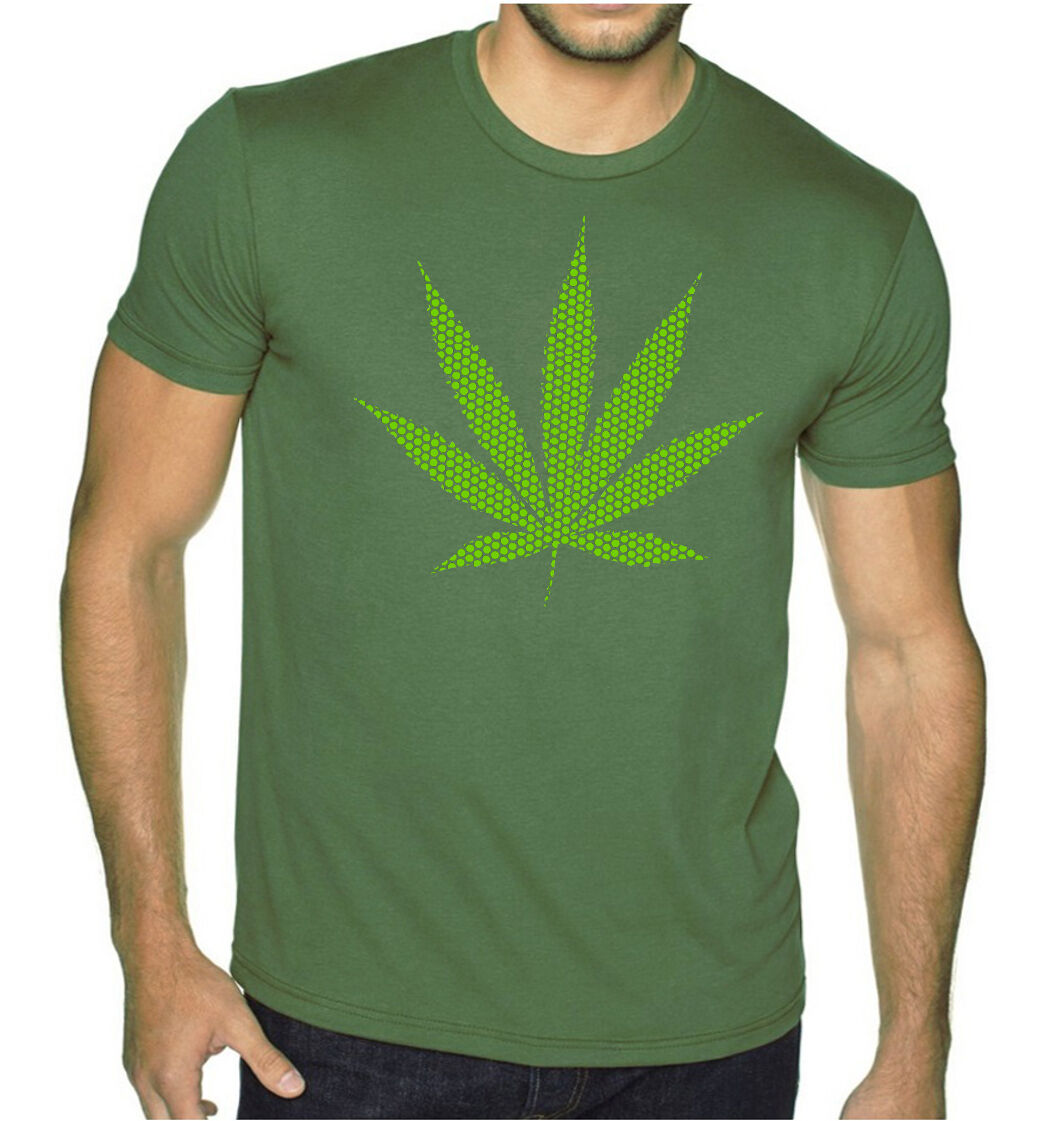 New Green Polka Dot Weed Leaf Men's Military Green Tee Shirt Pot Kush Marijuana 1