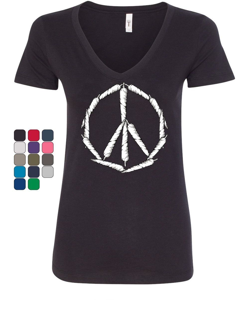 Peace Sign Weed Joints Women's V-Neck T-Shirt Smoking 420 Hippie Pot Marijuana 1
