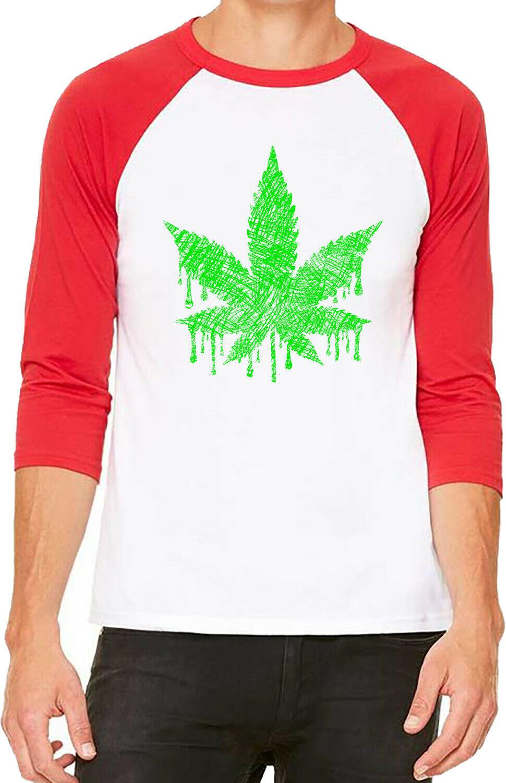 Unisex Sketch Weed Leaf White/Red C5 Baseball T Shirt High blunt kush marijuana 1