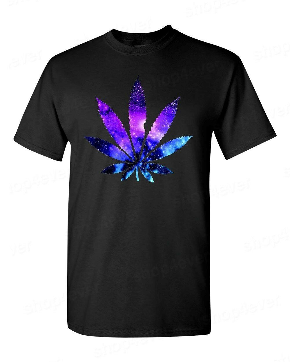 Galaxy Weed Leaf T-Shirt Marijuana Cannabis Stoner Kush Pot 420 Tees 1