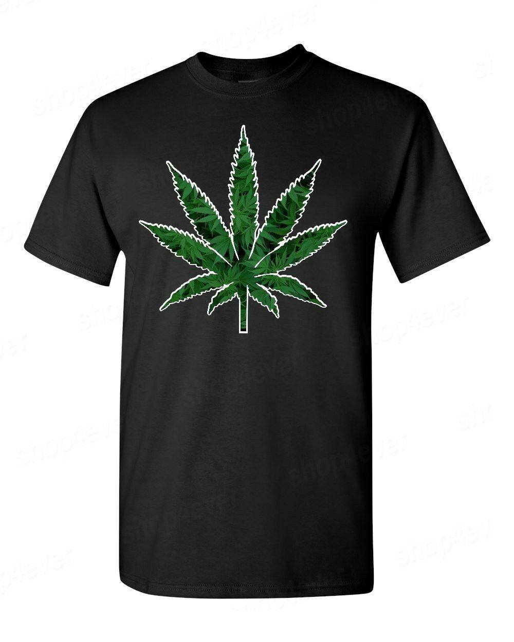 Marijuana Weed Leaf T-Shirt Cannabis Kush Stoner Bob Marley 420 Fun Tees 1