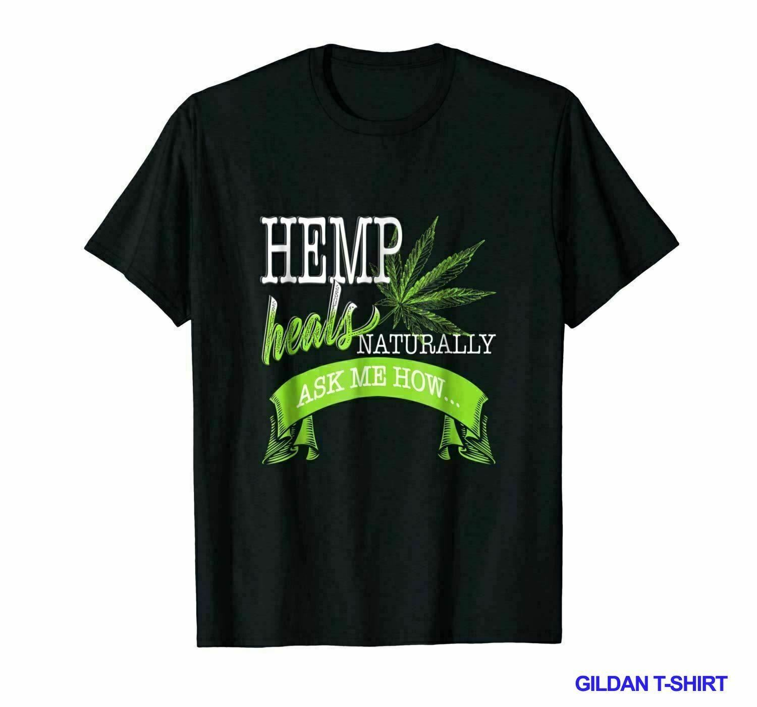 NEW HEMP HEALS ASK ME HOW SHIRT CBD COFFEE CANNABIDIOL OIL USA SIZE 2