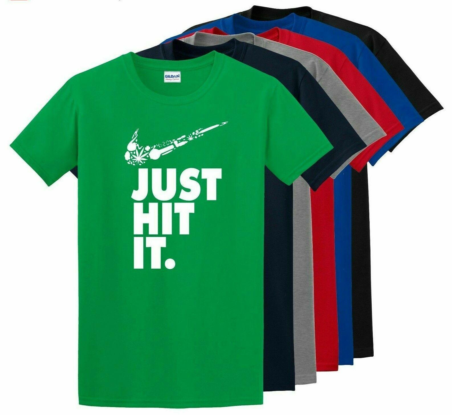 Nike Just Hit Funny Marijuana Weed Pot 420 Black T Shirt Just do it Festival Tee 1