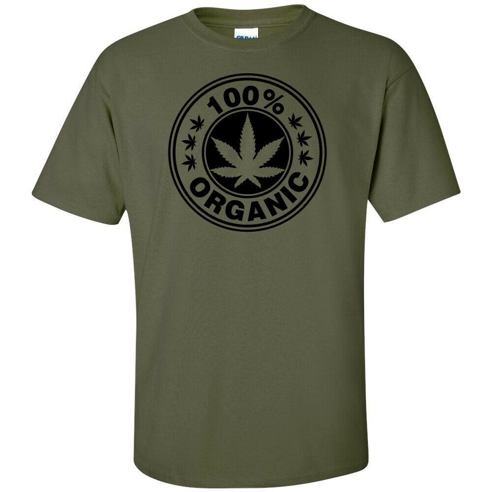 100% Organic Pot Leaf Black Logo Cannabis T-Shirt Hippie Stoner Weed Marijuana 1