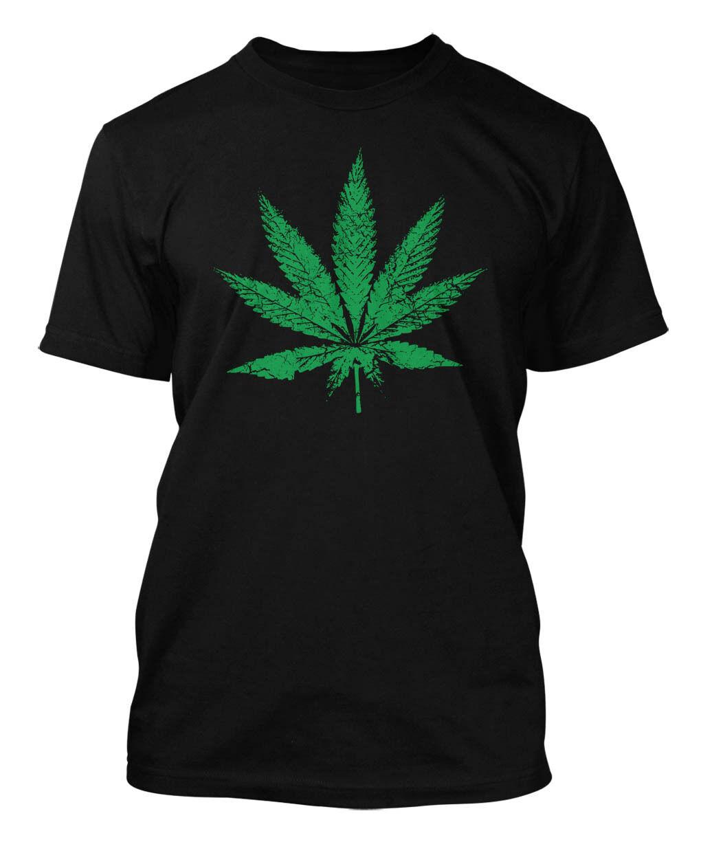 Distressed Marijuana Leaf - Weed Pot Stoner Men's T-shirt 1