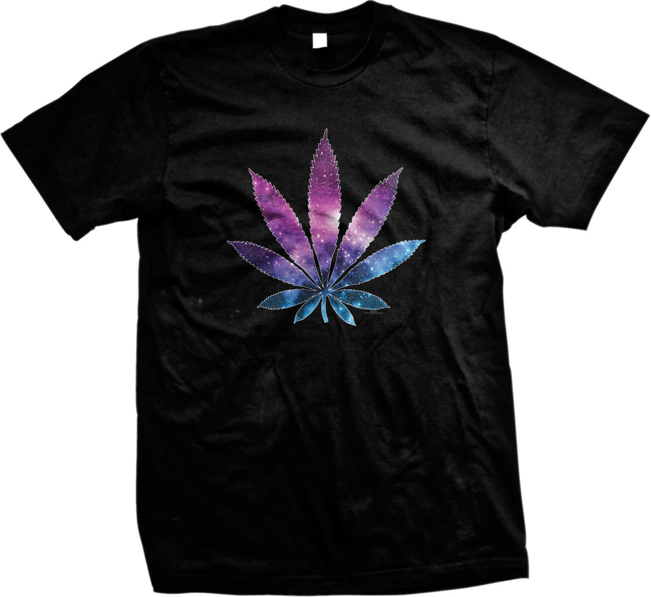 Galaxy Pot Leaf Weed Marijuana 420 Stars Stoner Toke Choke Smoke Mens T-shirt 1