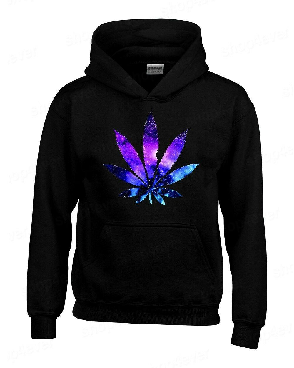 Galaxy Weed Leaf Hoodie Marijuana Cannabis Stoner Kush Pot 420 Sweatshirts 1