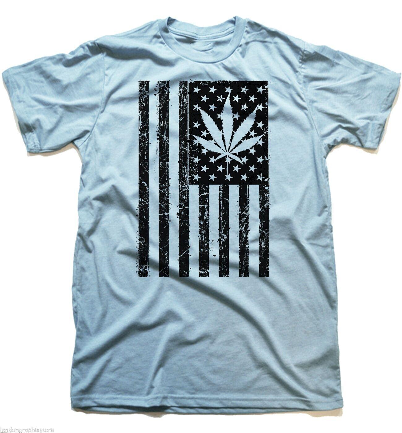 Marijuana T-Shirt, Weed , Cannabis, 420, blunt, bong, drugs men swag US flag 1