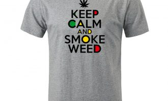 KEEP CALM AND SMOKE WEED Pattern Mens Womens Print T-Shirts Graphic Tee Tops 6