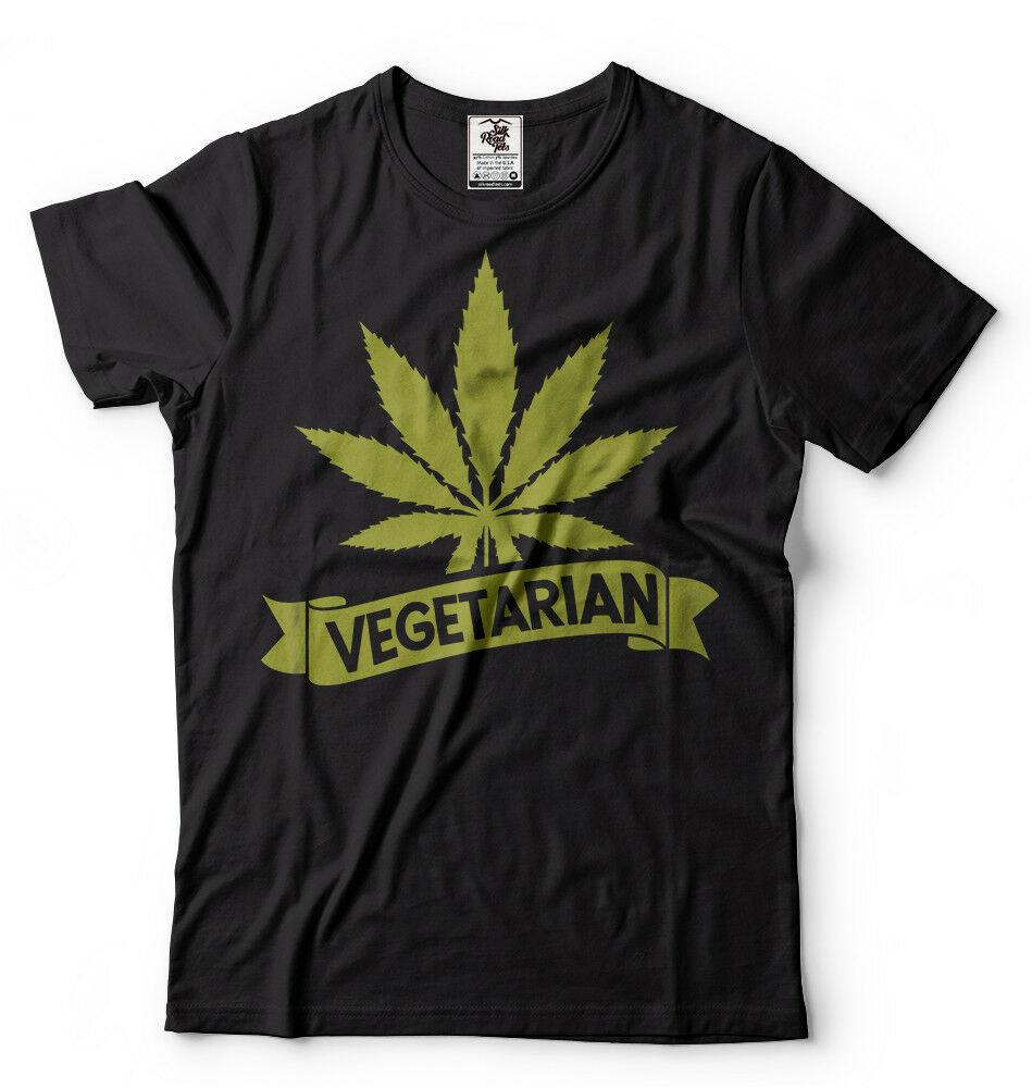 Vegetarian tshirt THC Weed Cannabis T-shirt Funny Marijuana Shirt Vegan Weed Tee 1