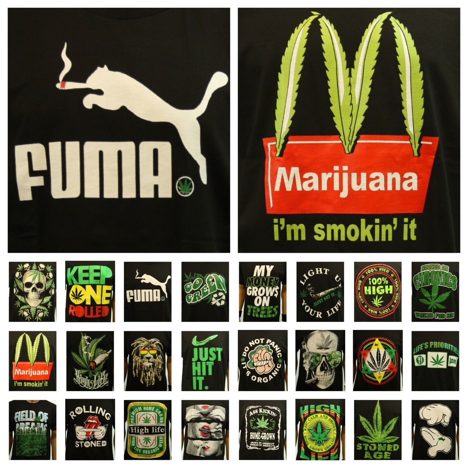 Fashion Graphic T-Shirt Weed Marijuana Mexico Crew Neck Printed Hipster Funny 1