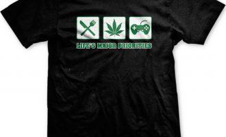 Lifes Priorities Food Weed Video Games Pot Marijuana Toke Smoke 420 Mens T-shirt 1