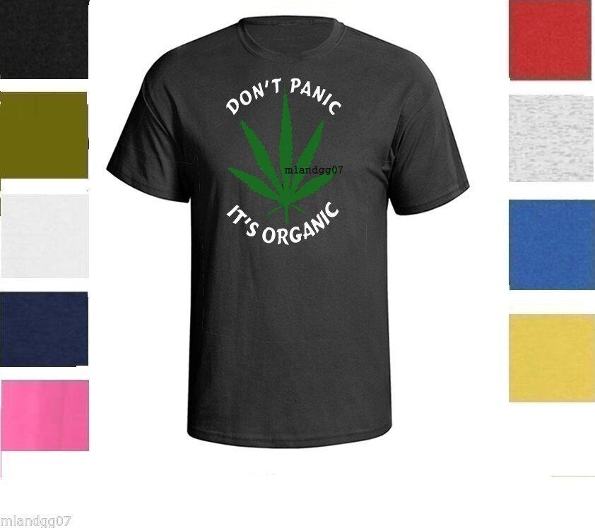 Marijuana Cool Funny Weed Don't Panic It's Organic T-shirt Shirt SZ S-5XL 1