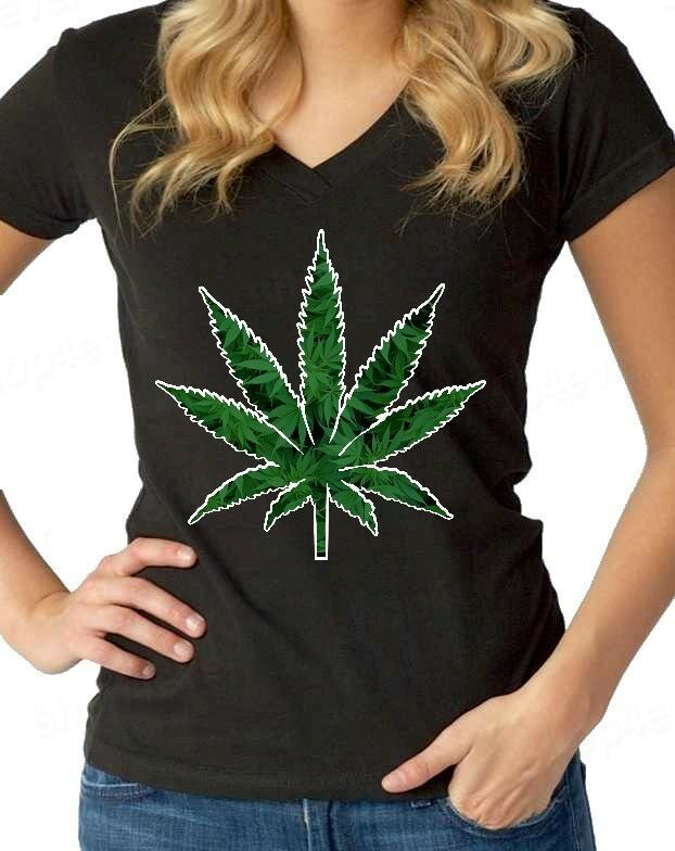 Marijuana Weed Leaf Women's V-Neck Cannabis Kush Stoner Bob Marley 420 Tees 1