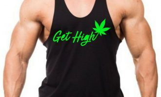 Men's Get High Weed Leaf Black Stringer Tank Top Blunt Marijuana Kush 420 V452 6