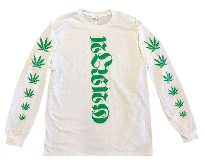 NEW GANJA SCRIPT LONG SLEEVE TEE WEED POT STONER LETTERING DANK LEAVES MARIJUANA 1