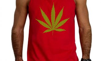 New Men's Green Polka Dot Weed Leaf Red Tank Top Marijuana Blunt Kush Pot 420 12
