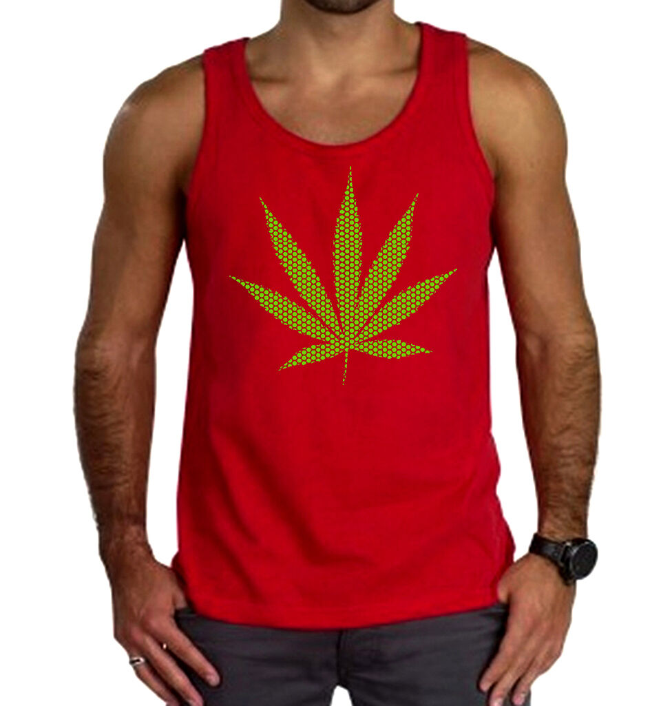New Men's Green Polka Dot Weed Leaf Red Tank Top Marijuana Blunt Kush Pot 420 1