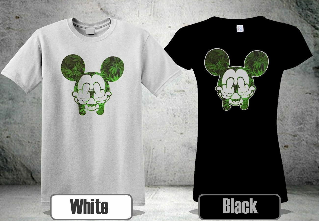 NEW MICKEY WEED MIDDLE FINGER 420 MARI BLCK&WHITE T-SHIRT USA SIZE S-XXXL RA1 1