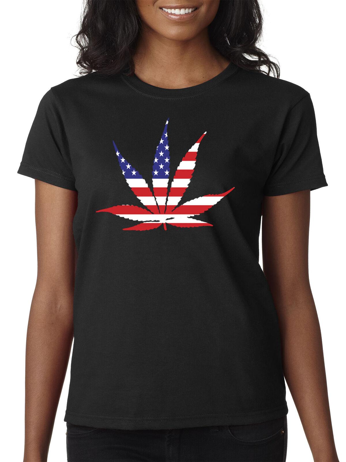 New Way 1493 - Women's T-Shirt American Pot Leaf Marijuana Legalize Weed USA 1