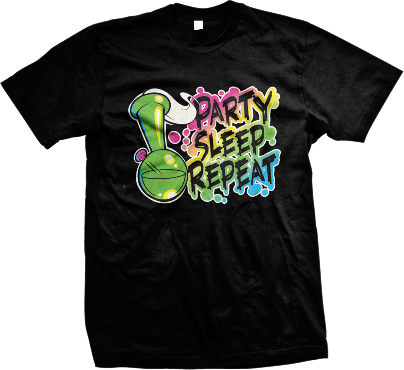 Party Sleep Repeat Bong Weed Alcohol Drinking Drunk High Mens T-shirt 2