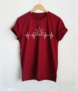 Weed Heartbeat Shirt Marijuana Lover T-Shirts Smoking High Funny Tees 1