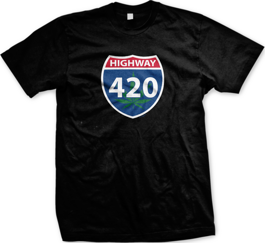 Highway 420 Pot Weed Marijuana High Stoned Drugs Funny Mens T-shirt 1