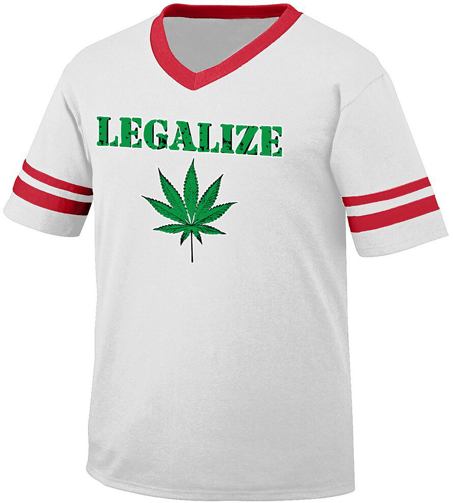 Legalize Marijuana Leaf Pot Weed Law Change Legal High Men's V-Neck Ringer Tee 1
