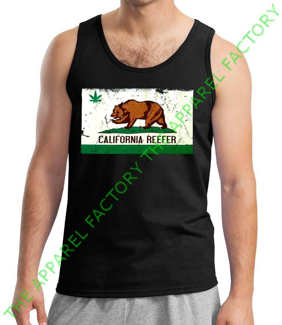 New Men's California Reefer Bear Flag Tank Top 420 Weed Marijuana pot rave Tee 1