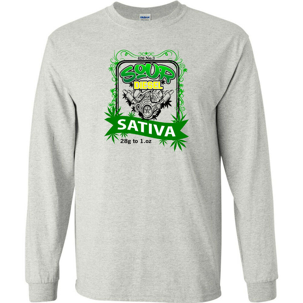 Sour Diesel 420 Strain Logo Cannabis Long Sleeve Shirt Stoner Marijuana Weed Gas 1