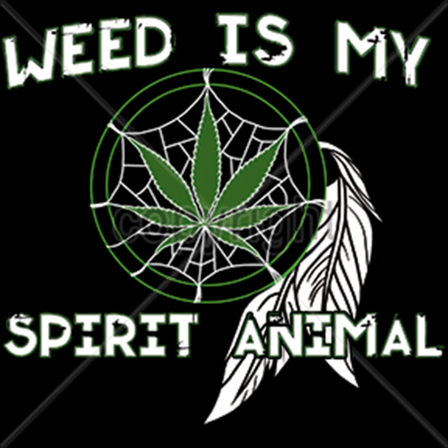 Weed Is My Spirit Animal Marijuana 420 Kush Dream Catcher Funny T-Shirt Tee 1