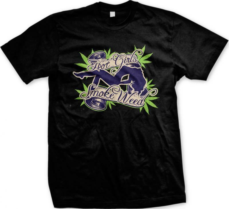 Hot Girls Smoke Weed Marijuana Pot Ganja 420 Smoke THC Toke Mens T-shirt 1