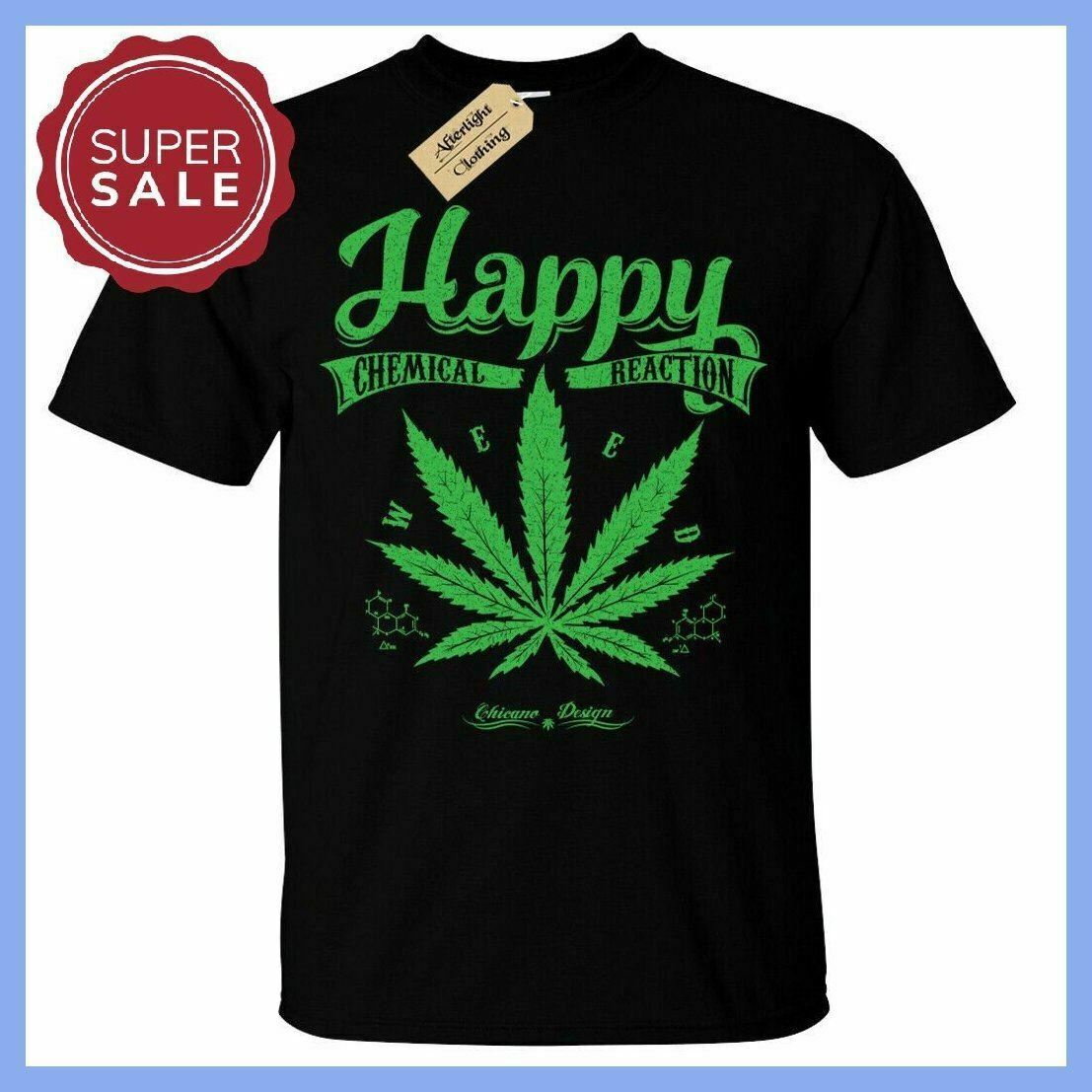 NEW HAPPY CHEMICAL REACTION T-SHIRT MENS WEED CANNABIS TEE 1