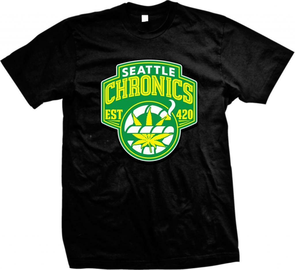 Seattle Chronics Est. 420 Marijuana Weed Pot Head Funny Sayings  Mens T-shirt 1