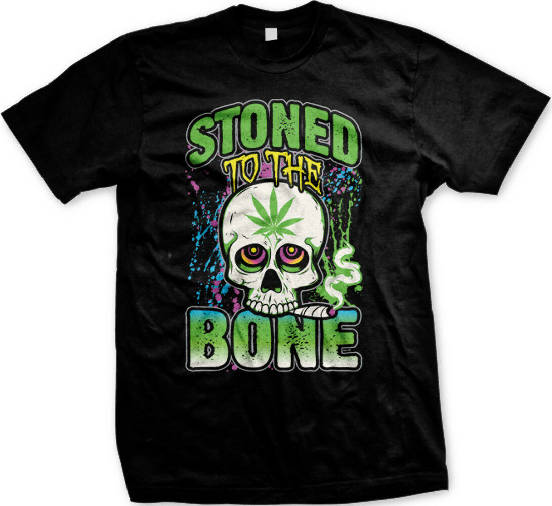 Stoned To The Bone Skull Smoking Weed Pot Marijuana FREE SHIPPING New T-shirt 1