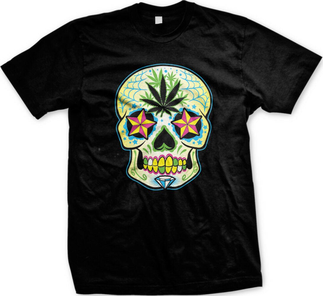 Weed Sugar Skull Dia De Los Muertos Stoner Weed Pot Marijuana Ganja Mens T-shirt 1